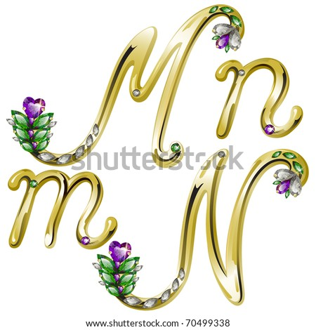 Vector gold alphabet with diamonds and gems letters M, N - stock vector