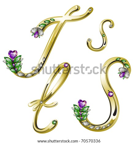 Vector gold alphabet with diamonds and gems letters S, T - stock vector