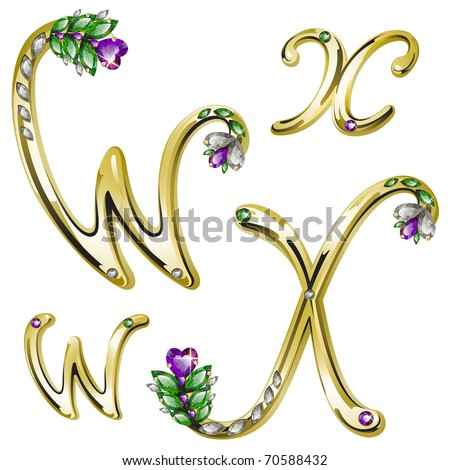 Vector gold alphabet with diamonds and gems letters W, X - stock vector
