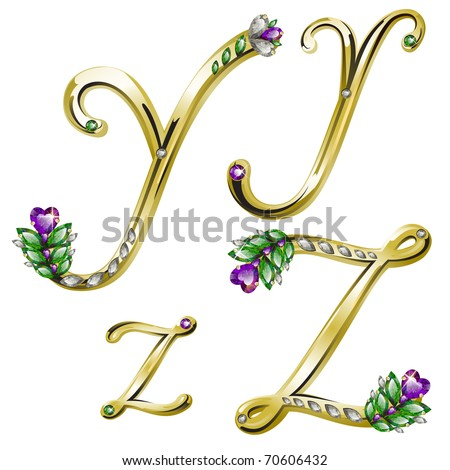 Vector gold alphabet with diamonds and gems letters Y, Z - stock vector