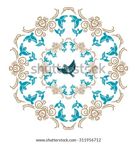 Vector gold and blue floral ornament with flying birds for decorative plate - stock vector