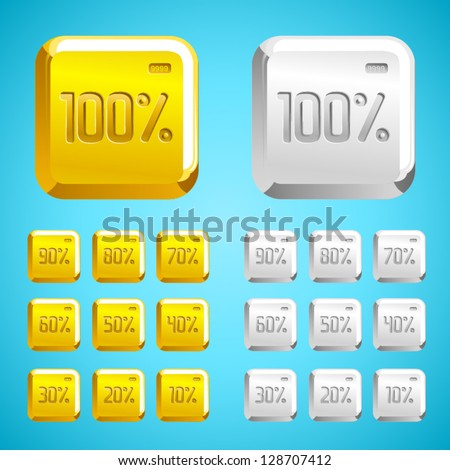 vector gold and metal square icon font Percents templates for sale 100%, 90%, 80%, 70%, 60%,  50%, 40%, 30%, 20%, 10% - stock vector