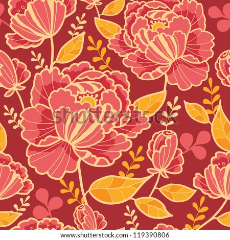 Vector gold and red flowers elegant seamless pattern background - stock vector