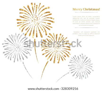 Vector gold and silver fireworks on white background. Vector illustration. Gold Glitter Texture, Sequins Pattern. Lights and Sparkles. Glowing New Year or Christmas Backdrop. Place for text.