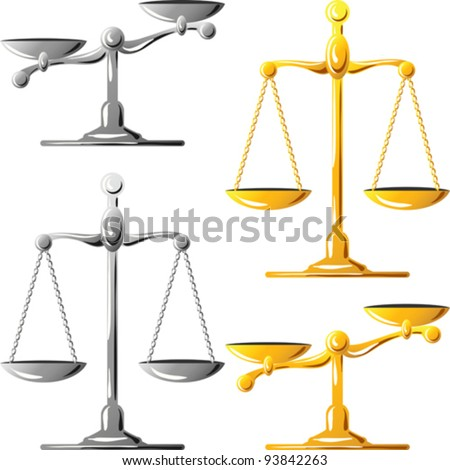 vector gold and silver scales balanced and unbalanced isolated on white background - stock vector