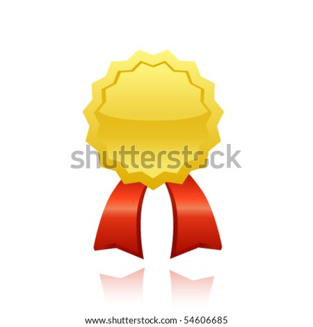 vector gold award ribbon - stock vector
