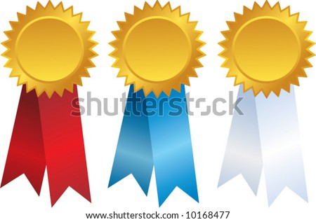 vector gold award ribbons - stock vector