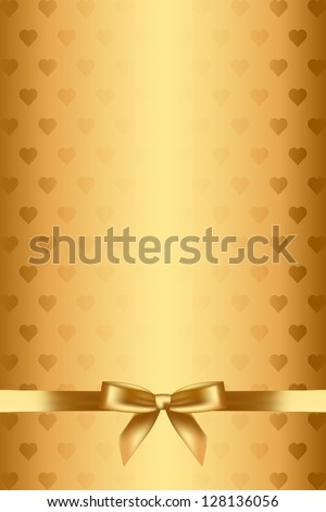 Vector gold background with hearts and bow - stock vector