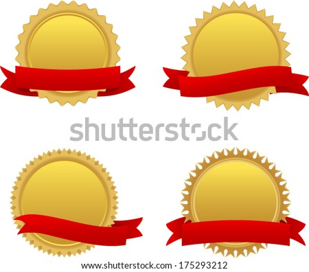 vector gold badges with ribbons - Separate layers for easy editing - stock vector