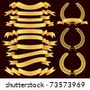 vector gold  banner and laurel wreath  set - stock vector
