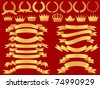 vector gold  banner,laurel  wreath and crown set - stock vector