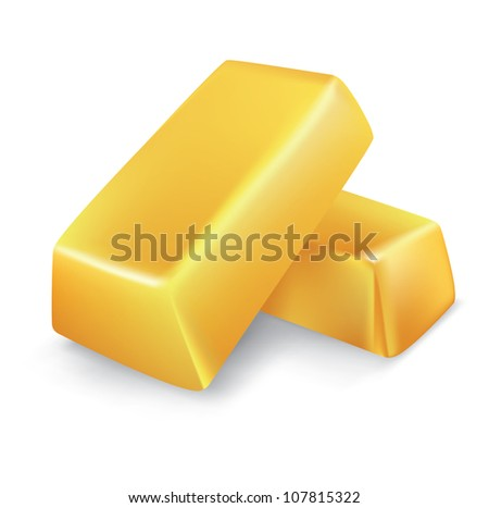 vector gold bars and coins on white