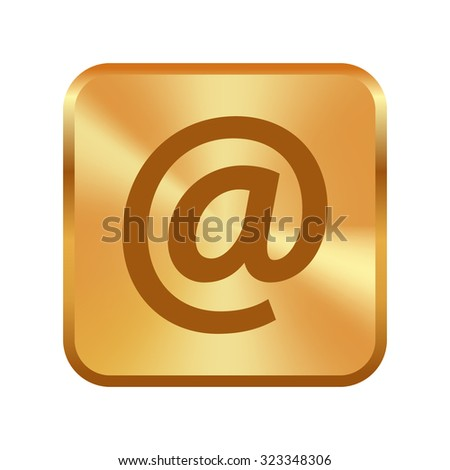 Vector gold button with Email sign icon (Vector)  - stock vector
