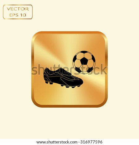 Vector gold button with Football boots - vector illustration with ball - stock vector