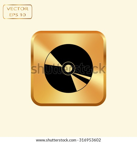 Vector gold button with Gold CD or DVD icons  - stock vector