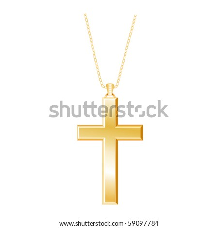 vector - Gold Christian Cross and chain isolated on a white background. EPS8 organized in groups for easy editing. - stock vector
