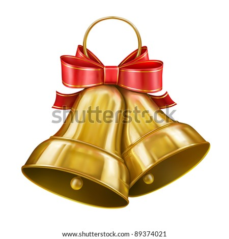 Vector Gold Christmas bells - stock vector