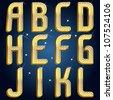 Vector gold diamond font abc Part 1 - stock vector