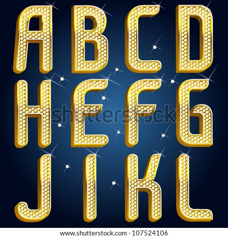 Vector gold diamond font abc Part 1 - stock vector