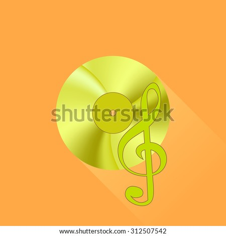 Vector Gold Disc and Treble Clef on Orange Background. Long Shadow - stock vector