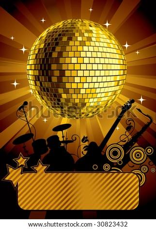 Vector gold disco ball with a banner - stock vector