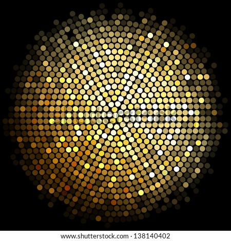 Vector gold disco lights background - stock vector