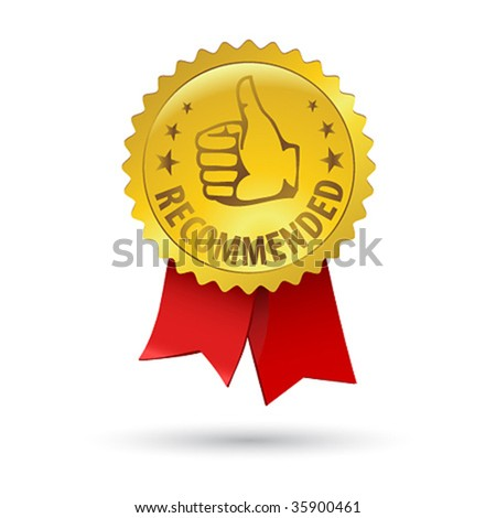 Vector gold embossed recommended sign for web design with red ribbon - stock vector