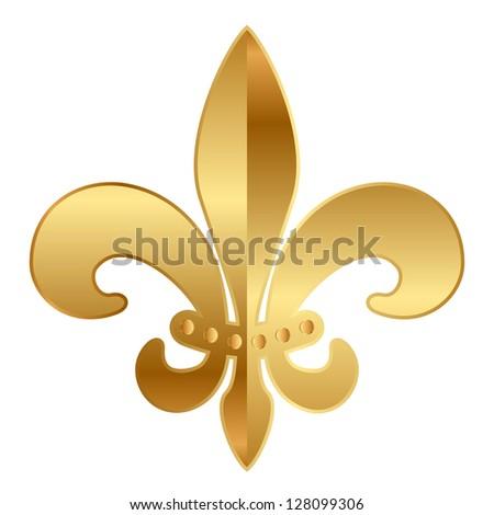 Vector gold  Fleur-de-lis ornament - stock vector