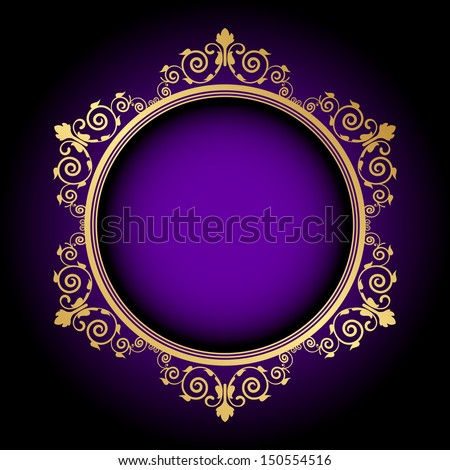 Vector gold floral frame on purple background - stock vector