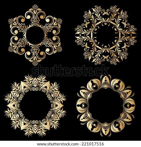 Vector gold floral round ornaments on black background. - stock vector