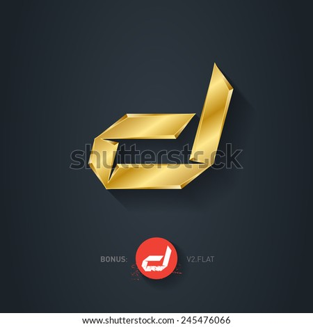 Vector gold font, Letter D. Pseudo origami style, including flat version. Elegant Template for company logo. Metallic Design element or icon. - stock vector