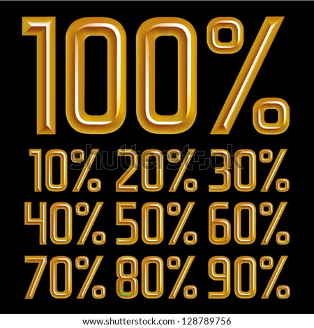 vector gold font Percents templates for sale 100%, 90%, 80%, 70%, 60%,  50%, 40%, 30%, 20%, 10% - stock vector