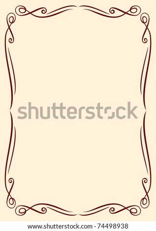 Vector gold frame with ornaments - stock vector