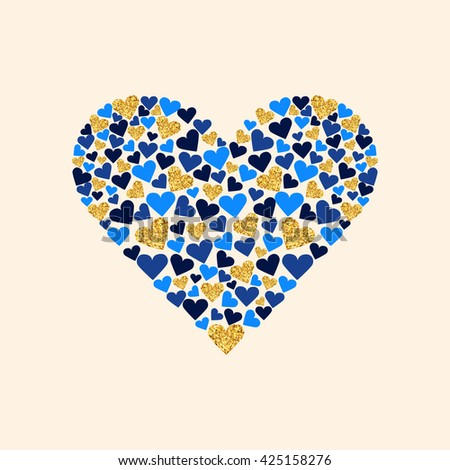 Vector gold glitter heart. Love concept card background for Valentine's day