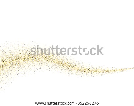 Vector gold glitter wave abstract background, golden sparkles on white background,  Gold glitter card design. vector illustration vip  design template. - stock vector