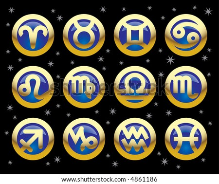 Vector gold icons of signs of the zodiac - stock vector