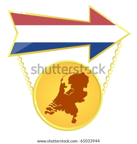 Vector Gold Index with a map of Netherlands