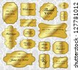 Vector Gold Labels Set. Easy to edit. Perfect for invitations or announcements. - stock vector