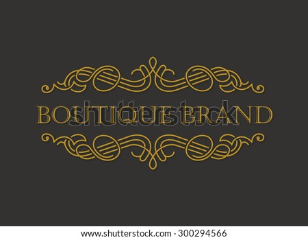 Vector gold ornament logo. Calligraphic frame and page decoration vintage illustration - stock vector