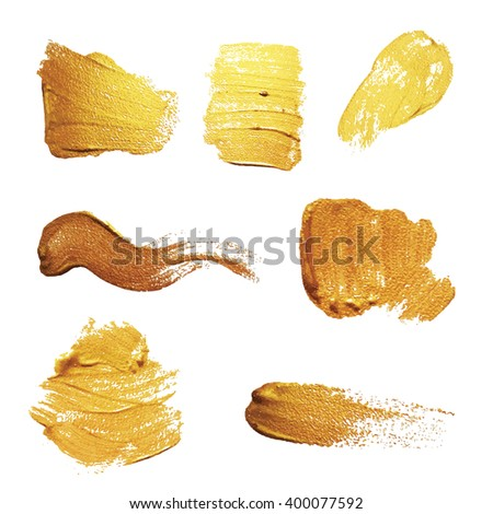 Vector gold paint smear stroke stain set. Abstract gold  textured  illustration. Isolated On White Background