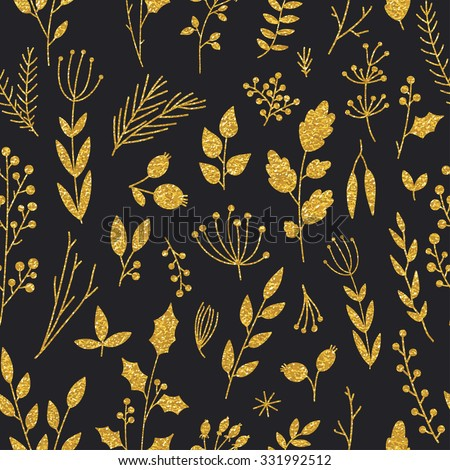Vector gold pattern, floral texture with hand drawn flowers and plants. Floral ornament. Original floral seamless pattern on black background. Trendy gold glitter texture - stock vector