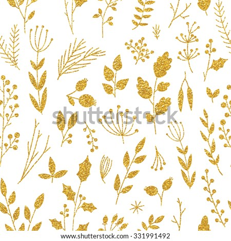 Vector gold seamless pattern, floral texture with hand drawn flowers and plants. Floral ornament. Original floral pattern on white background. Trendy gold glitter texture - stock vector