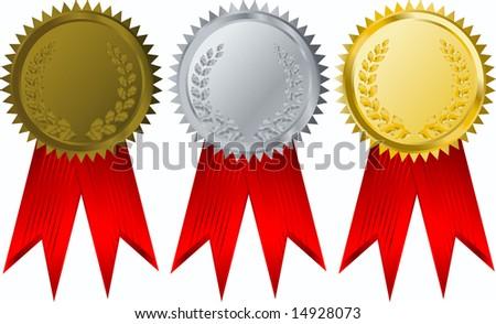vector gold, silver and bronze  award ribbons - stock vector
