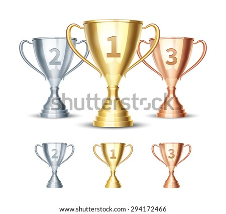 Vector gold, silver and bronze winner cup. Prize first third and second, winner sport cup