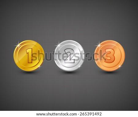 vector gold silver bronze medal coin rank icon winner 123 - stock vector