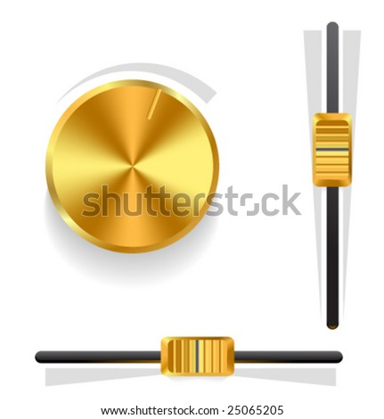 Vector gold volume knob and sliders