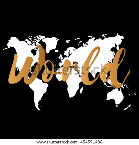 Vector gold world map on black background, doodle illustration with text, world inscription