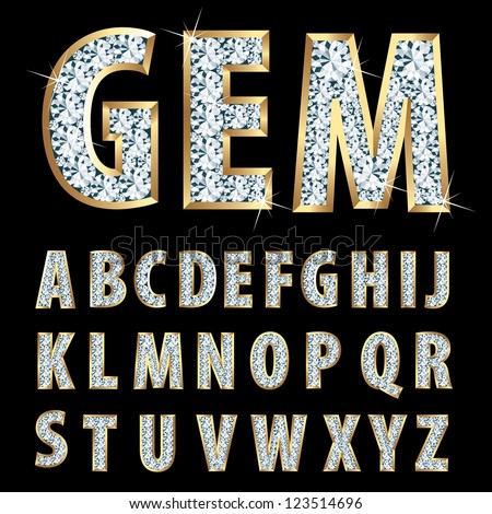 vector golden alphabet with diamonds - stock vector