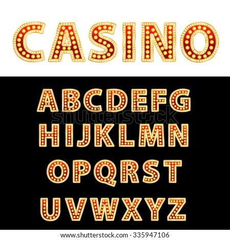 vector golden and red entertainment or casino letters with bulb lamps - stock vector
