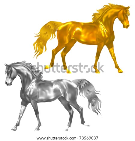 Vector Golden And Silver Horses Statuette - stock vector